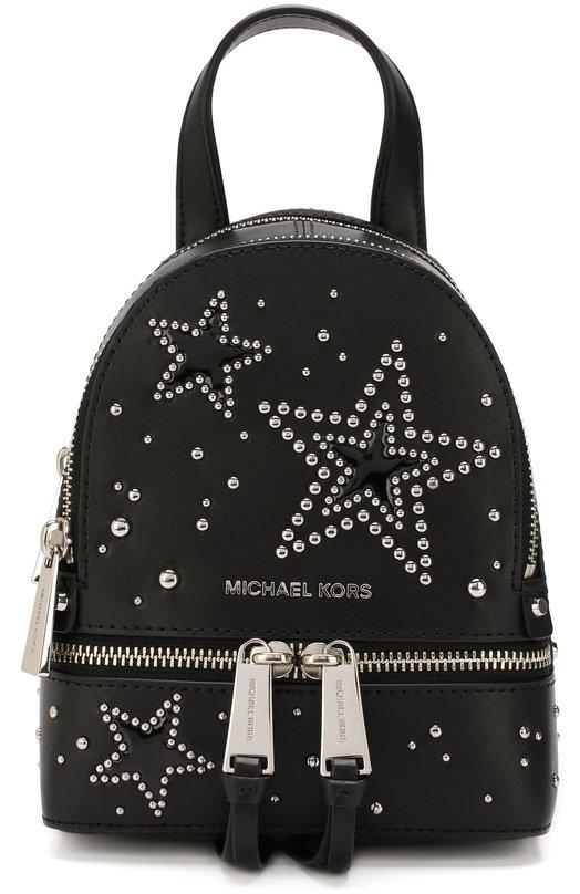 Michael Michael Kors   Черный Кожаный рюкзак Rhea Zip XS с заклепками  MICHAEL Michael Kors ... 9b75cadc10c