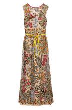 VALENTINO RED   Приталенное платье-макси с поясом и контрастной вышивкой REDVALENTINO   Clouty