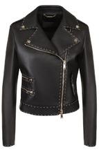 Versace | Кожаная куртка с косой молнией и контрастной прострочкой Versace | Clouty
