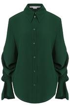 Stella McCartney | Однотонная шелковая блуза с драпировкой Stella McCartney | Clouty