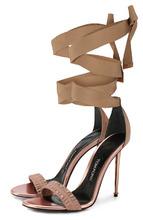 Tom Ford | Текстильные босоножки Metal Heel на лентах Tom Ford | Clouty