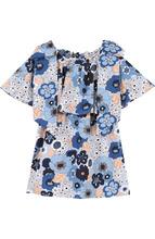 Chloé | Хлопковое мини-платье свободного кроя с принтом и бантами Chloe | Clouty