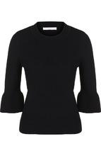 BOSS | Однотонный шерстяной пуловер с укороченным рукавом BOSS | Clouty