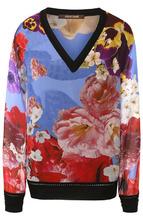 Roberto Cavalli | Шелковый пуловер с V-образным вырезом и принтом Roberto Cavalli | Clouty