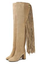 Chloé | Замшевые ботфорты Qaisha с бахромой на устойчивом каблуке Chloe | Clouty