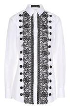 Dolce & Gabbana   Приталенная хлопковая блуза с контрастной кружевной отделкой Dolce & Gabbana   Clouty