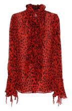 Roberto Cavalli | Шелковая блуза с леопардовым принтом и оборками Roberto Cavalli | Clouty