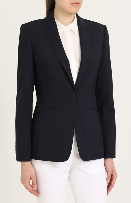 BOSS | Синий Приталенный жакет на одной пуговице с карманами BOSS | Clouty