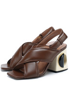 Marni | Кожаные босоножки на геометричном каблуке Marni | Clouty
