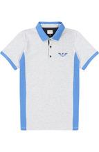 Armani Junior | Хлопковое поло с контрастной отделкой и логотипом бренда Armani Junior | Clouty