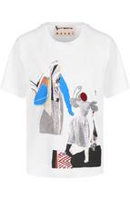 Marni | Хлопковая футболка с круглым вырезом и принтом Marni | Clouty