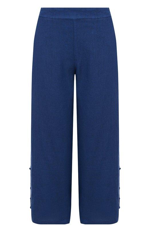 120% Lino | Синий Однотонные льняные брюки с карманами 120% Lino | Clouty