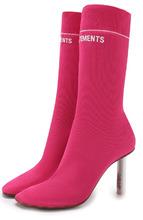 VETEMENTS | Текстильные ботильоны на контрастном каблуке Vetements | Clouty