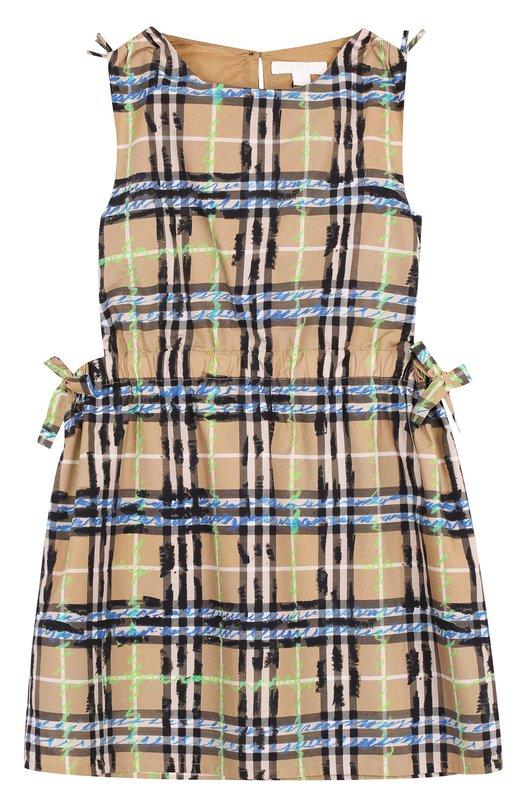80794cc1112 Хлопковое мини-платье с принтом и поясом на кулиске Burberry ...
