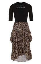 Balenciaga | Приталенное платье-миди с оборками и принтом Balenciaga | Clouty