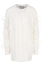 VALENTINO | Шерстяной пуловер фактурной вязки с перьевой отделкой Valentino | Clouty