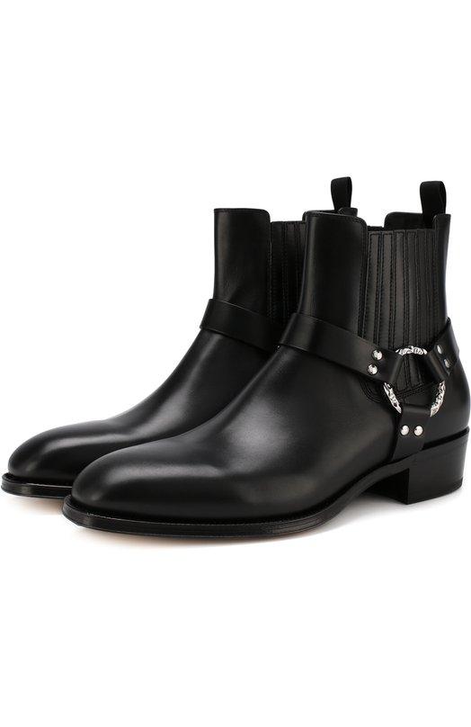 Alexander McQueen | Черный Кожаные сапоги с декоративными ремешками Alexander McQueen | Clouty