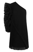 GIVENCHY | Плиссированное шелковое мини-платье с оборками и открытым плечом Givenchy | Clouty