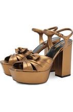 SAINT LAURENT | Кожаные босоножки Farrah на устойчивом каблуке и платформе Saint Laurent | Clouty