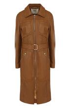 Bally   Кожаное пальто с отложным воротником с поясом Bally   Clouty