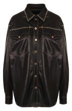 Versace | Кожаная блуза свободного кроя с накладными карманами Versace | Clouty