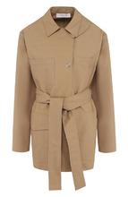 Victoria Beckham | Однотонное пальто из смеси хлопка и вискозы с поясом Victoria Beckham | Clouty