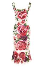Dolce & Gabbana | Приталенное шелковое платье-миди с принтом Dolce & Gabbana | Clouty