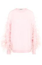 VALENTINO | Пуловер из смеси шерсти и кашемира с перьевой отделкой Valentino | Clouty
