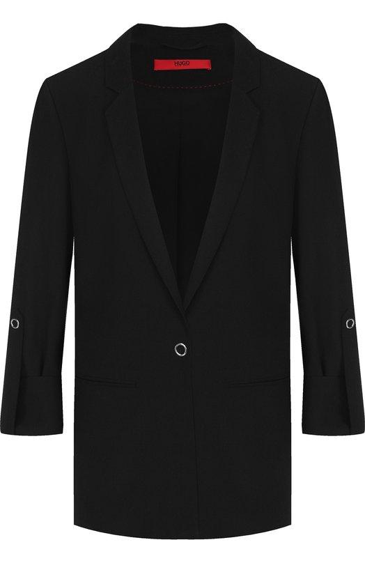 BOSS | Черный Однотонный жакет с отворотами на рукавах BOSS | Clouty