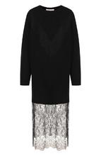 VALENTINO | Платье-миди из смеси шерсти и кашемира с кружевной вставкой Valentino | Clouty