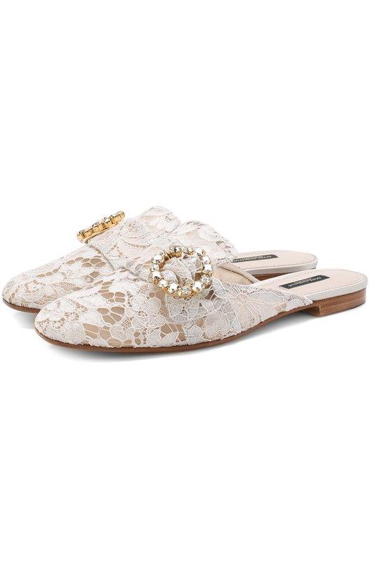 Dolce & Gabbana | Светло-серый Кружевные сабо Jackie с декорированной пряжкой Dolce & Gabbana | Clouty