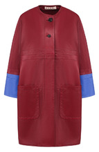 Marni | Кожаное пальто с накладными карманами и контрастной отделкой Marni | Clouty