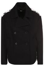 Versus | Укороченное шерстяное пальто с принтом на спине Versus Versace | Clouty