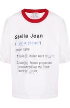 Stella Jean | Хлопковая футболка с круглым вырезом и надписями Stella Jean | Clouty