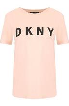 DKNY | Хлопковая футболка с круглым вырезом и логотипом бренда DKNY | Clouty