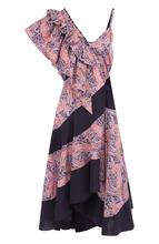 Loewe | Хлопковое платье-миди с оборками и принтом Loewe | Clouty