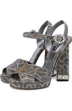 Dolce & Gabbana | Босоножки Keira из металлизированного текстиля на устойчивом каблуке Dolce & Gabbana | Clouty