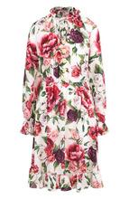 Dolce & Gabbana | Шелковое платье с воротником-стойкой и принтом Dolce & Gabbana | Clouty