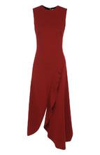 Victoria Beckham | Приталенное платье-миди с круглым вырезом и оборками Victoria Beckham | Clouty