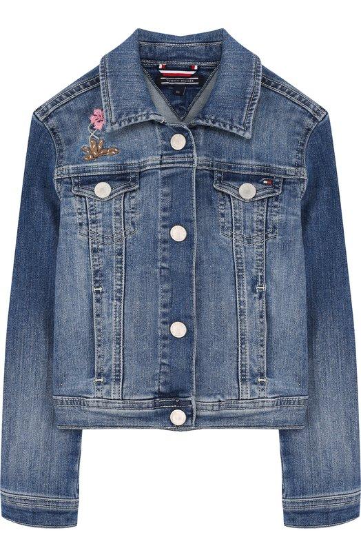 Джинсовая куртка с аппликациями Tommy Hilfiger KG0KG03141 1 купить ... 4e5621af9e2b5