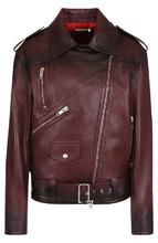 GIVENCHY | Кожаная куртка с поясом и косой молнией Givenchy | Clouty