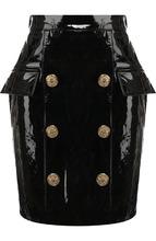 BALMAIN | Кожаная мини-юбка с декоративными пуговицами Balmain | Clouty