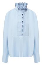 Isabel Marant Étoile   Однотонная хлопковая блуза с воротником-стойкой Isabel Marant Etoile   Clouty