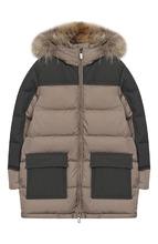 Il Gufo | Пальто на молнии с меховой отеделкой на капюшоне Il Gufo | Clouty