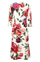 Dolce & Gabbana | Платье-миди с круглым вырезом и принтом Dolce & Gabbana | Clouty