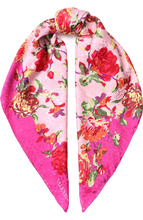 VALENTINO | Шелковый платок с цветочным принтом Valentino | Clouty