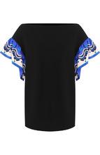 Emilio Pucci | Хлопковая футболка с вырезом-лодочка и контрастными рукавами Emilio Pucci | Clouty