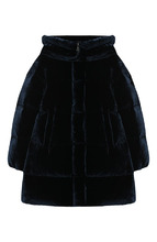 Moncler Enfant | Пуховое пальто с текстильной отделкой и капюшоном Moncler Enfant | Clouty