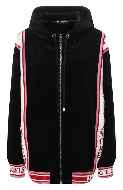 Dolce & Gabbana | Черный Хлопковый кардиган с капюшоном Dolce & Gabbana | Clouty