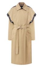 GIVENCHY | Пальто из смеси хлопка и льна с кожаной отделкой Givenchy | Clouty